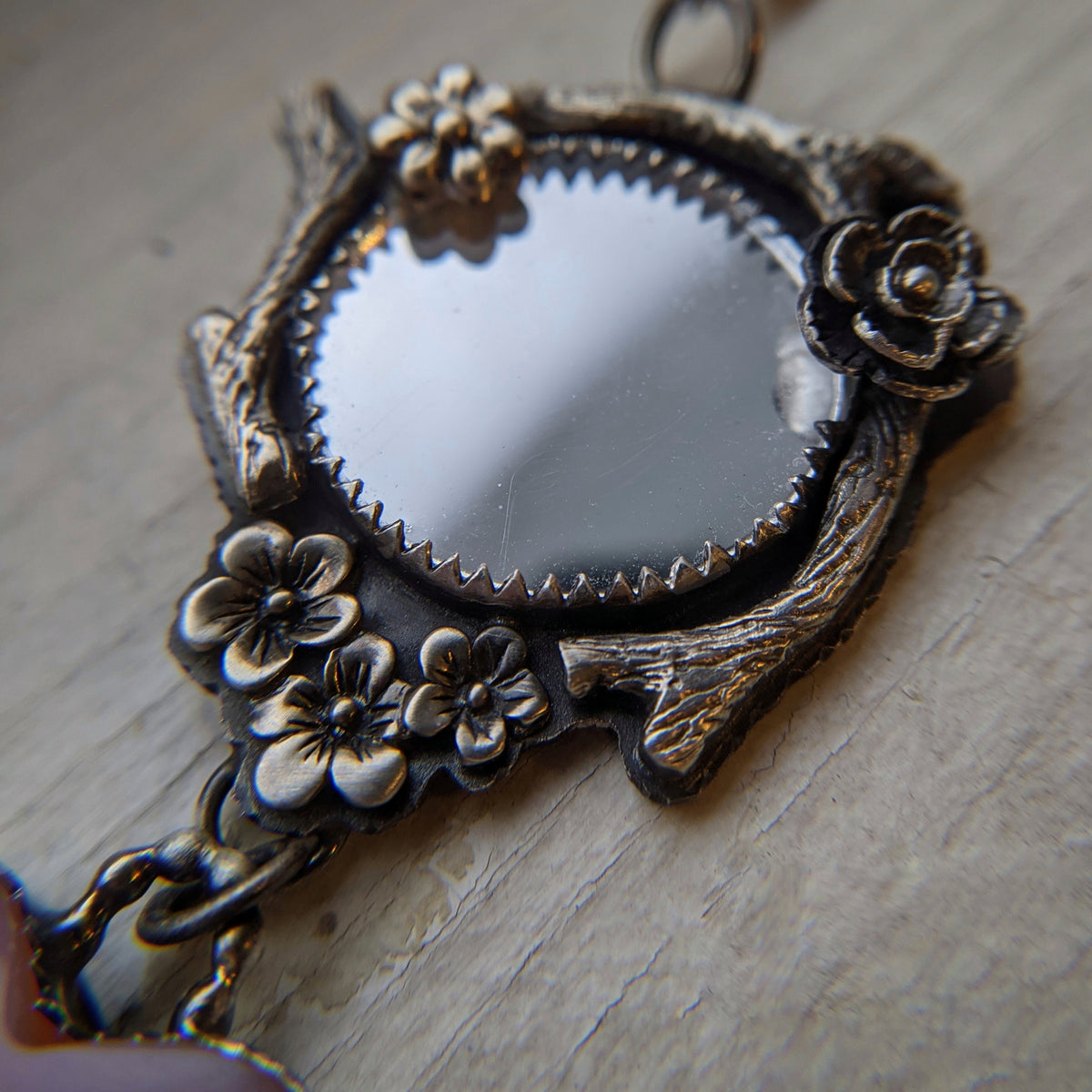 Mirror Magick Necklace with Inca Agate Heart