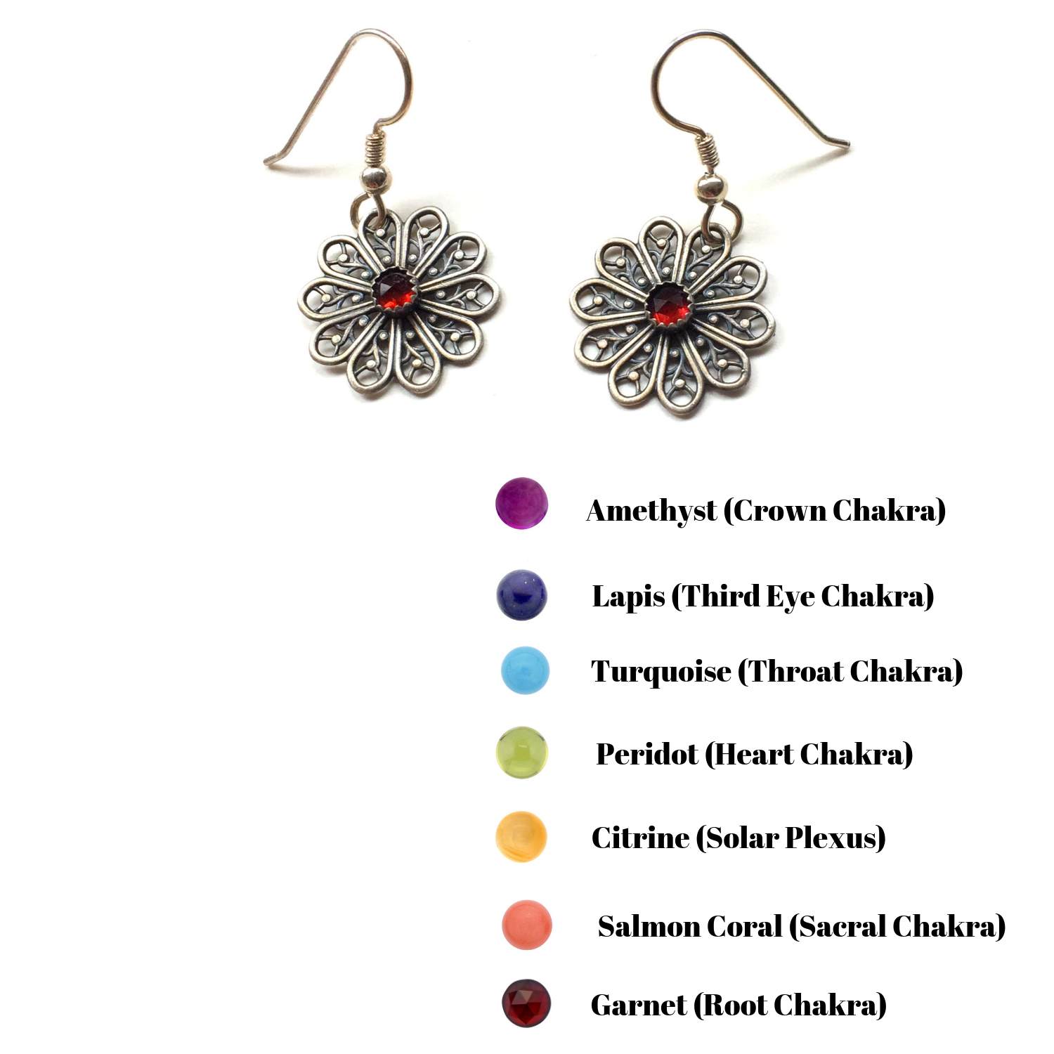 Sterling Silver Flower Mandala Earrings with Chakra Gemstones