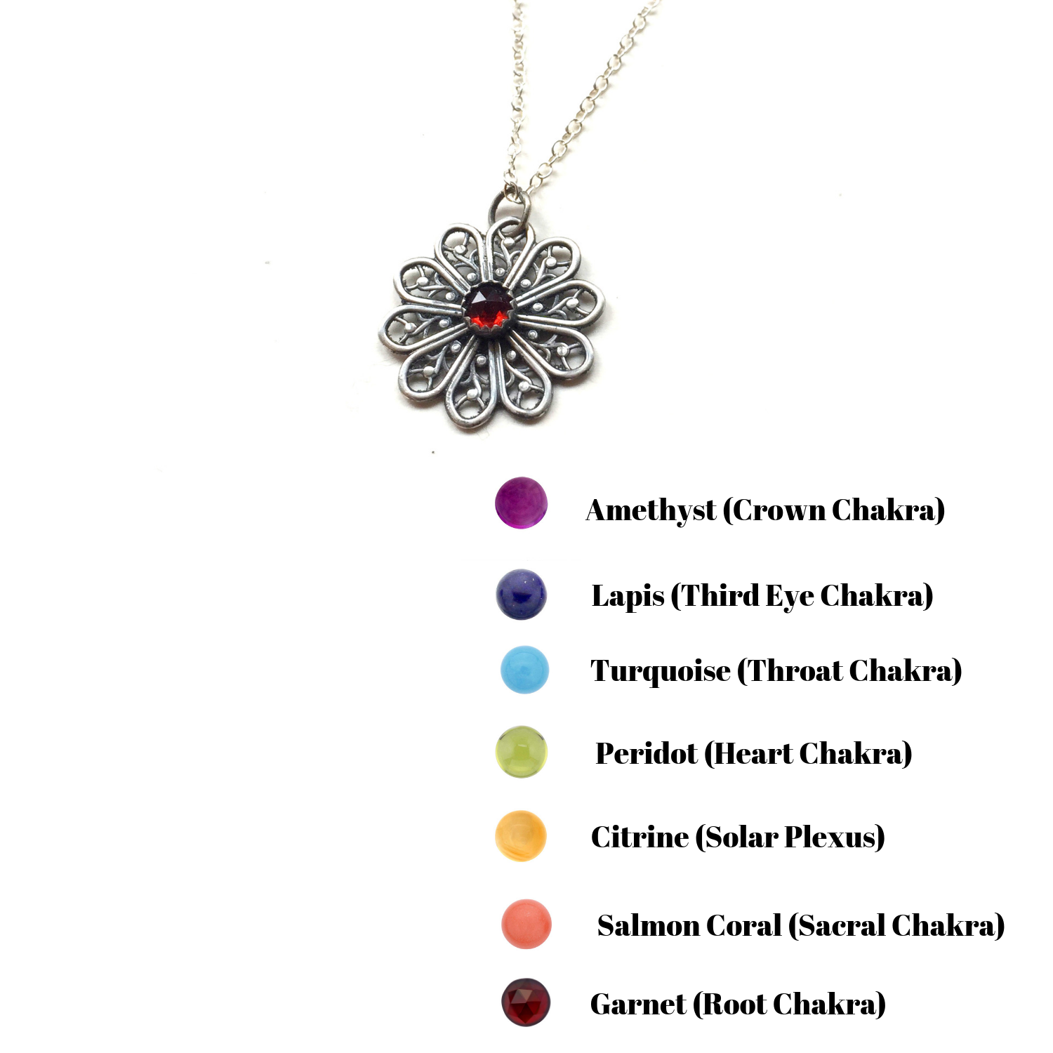 Flower Mandala Necklace with Chakra Gemstones