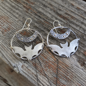 Bonfire Design Bat Earrings under the star, hoop shaped