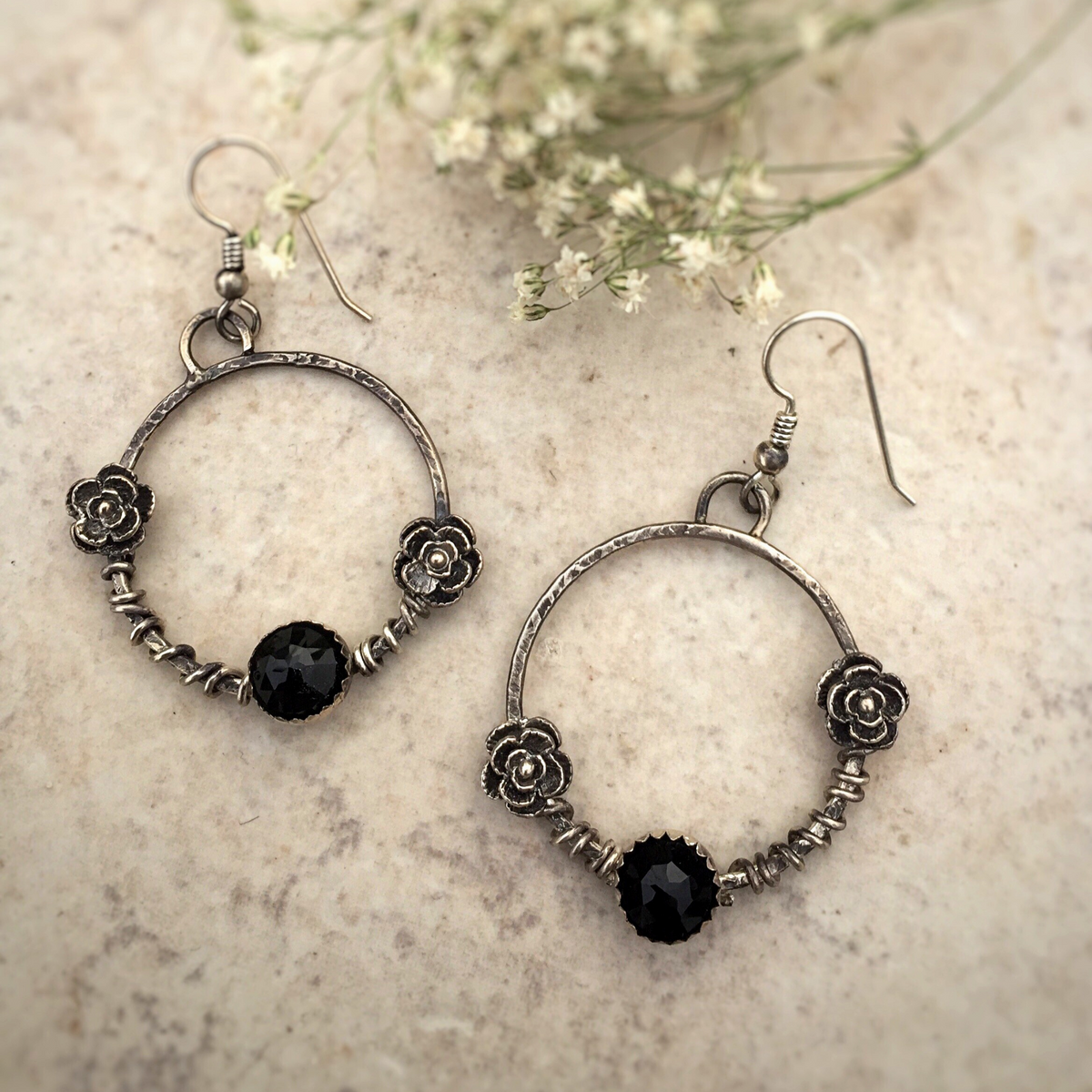 Bonfire Design Black Onyx Flower Hoop Earrings with vine