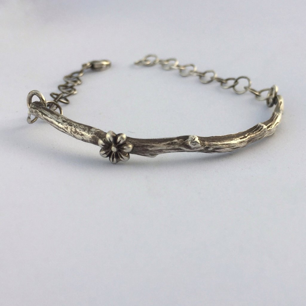Branch Twig Bracelet with Cherry Blossom Front view with a white background