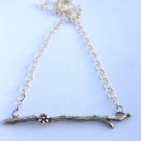 Branch Twig Necklace with Cherry Blossom