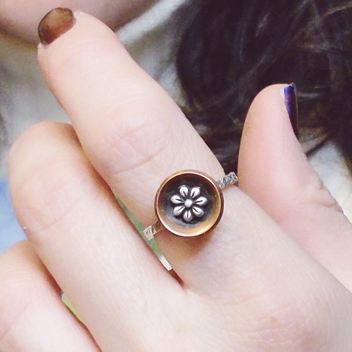 Copper Bowl Ring with Sterling Silver Flower