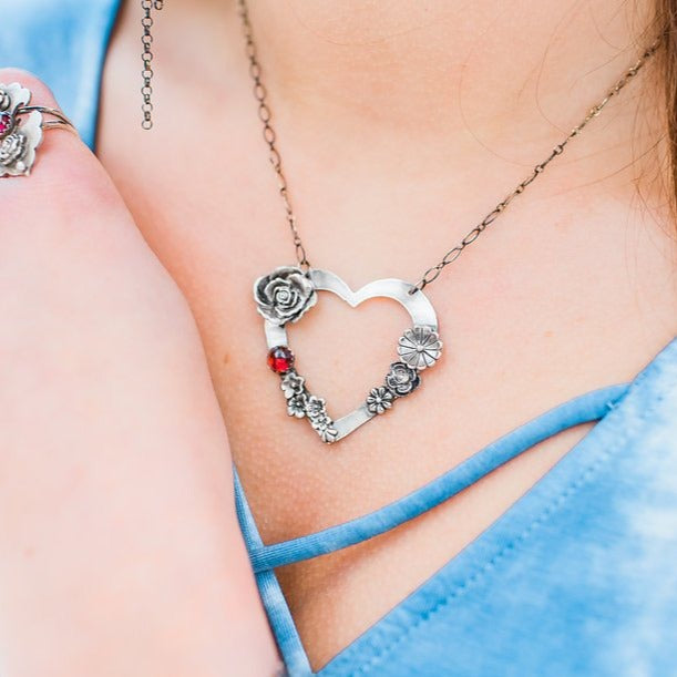 Flower Heart Necklace with Garnet