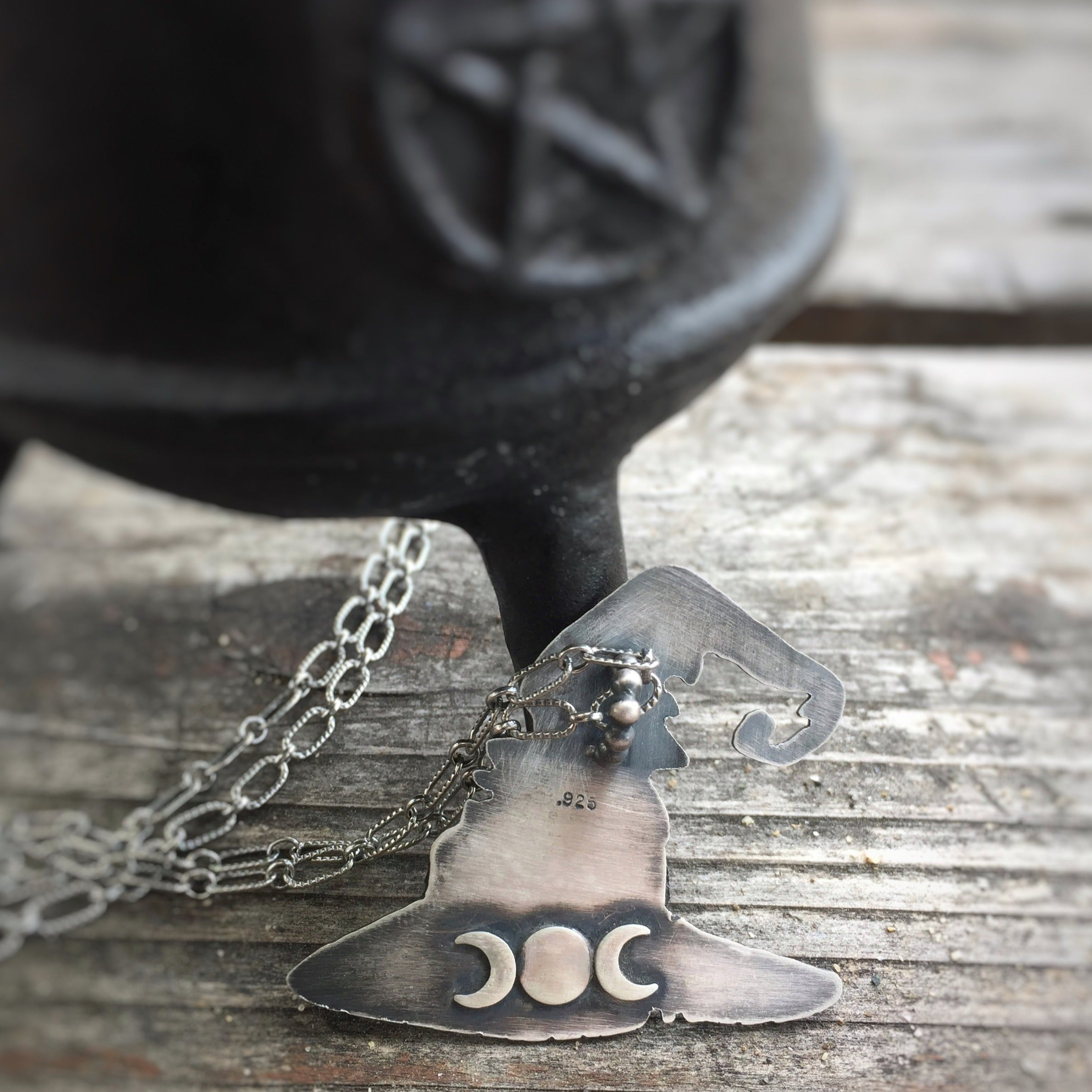 Witch Hat Necklace in Sterling Silver with Different Gemstones