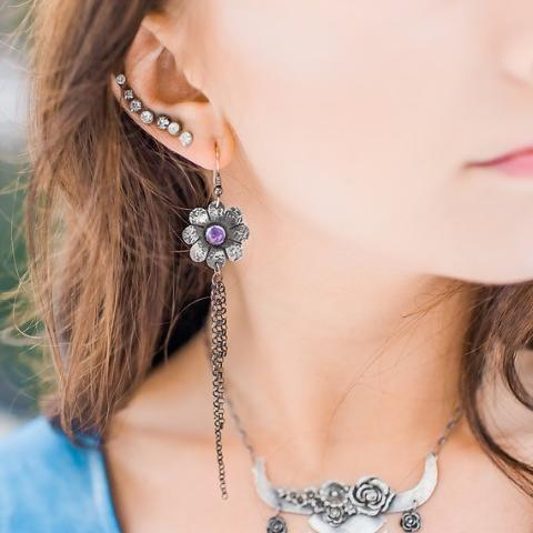Long Flower Dangle Earrings with Amethyst