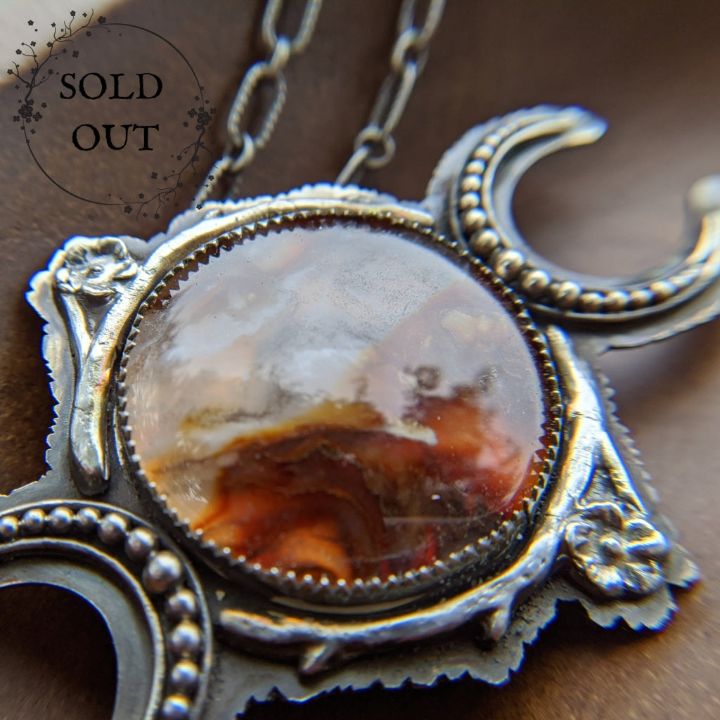 Enchanted Earth Collection Triple Moon Goddess Necklace