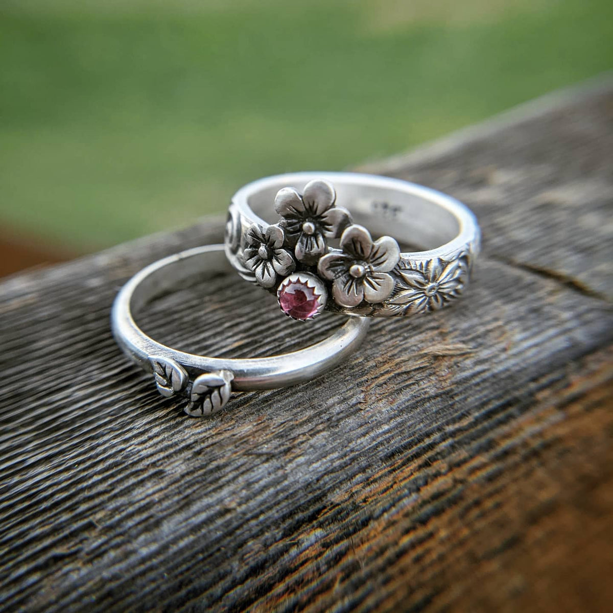 Sterling Silver Stacking Ring Set with Pink Tourmaline