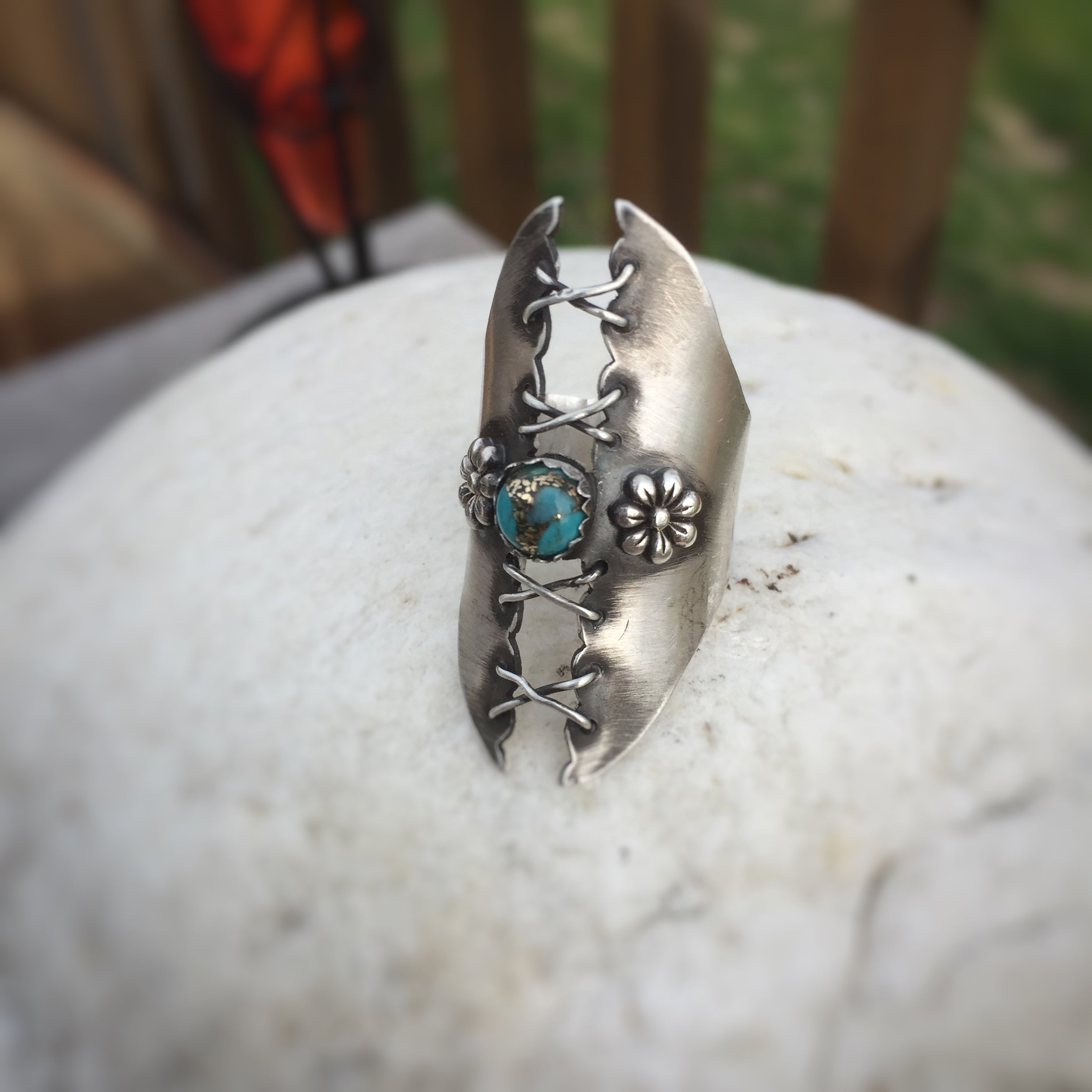Wide Band Corset Ring with Turquoise
