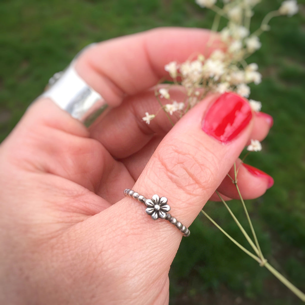 Stackable Dainty Flower Ring in Sterling Silver