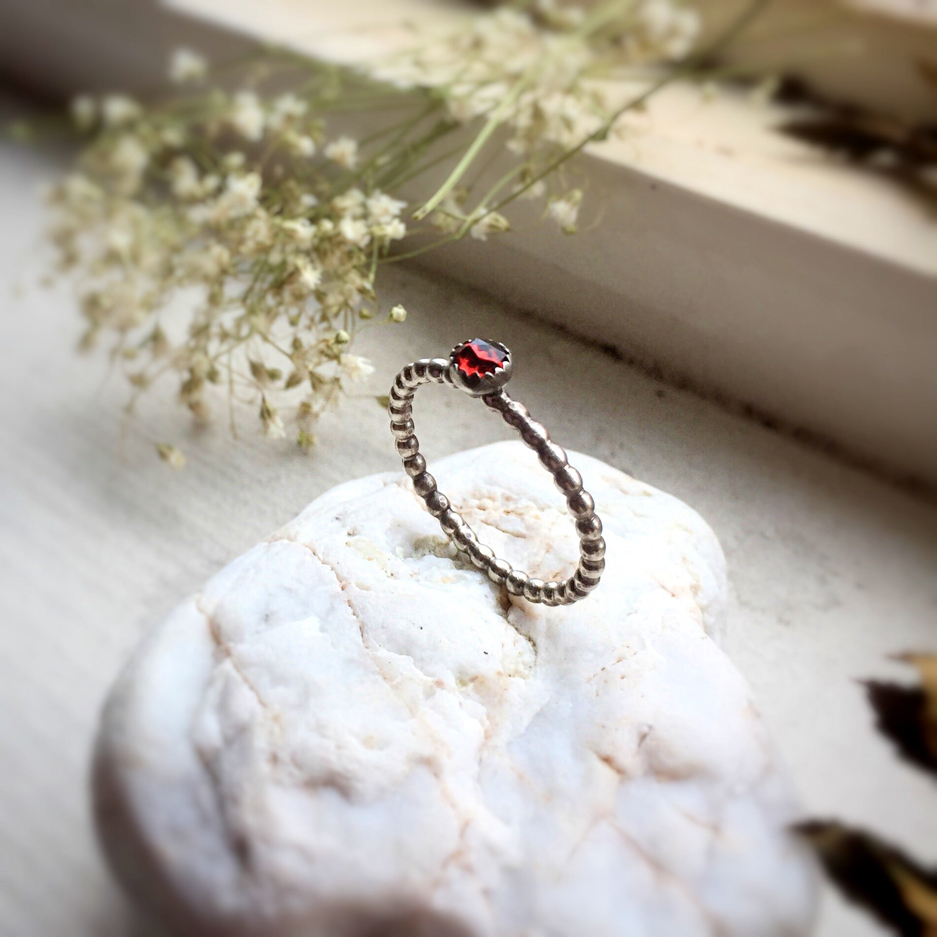 Stackable Garnet Ring in Sterling Silver