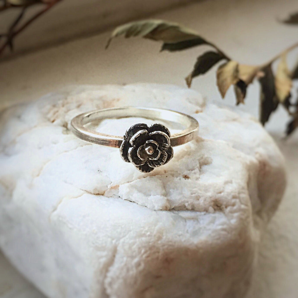 Dainty Rose Bud Ring in Sterling Silver