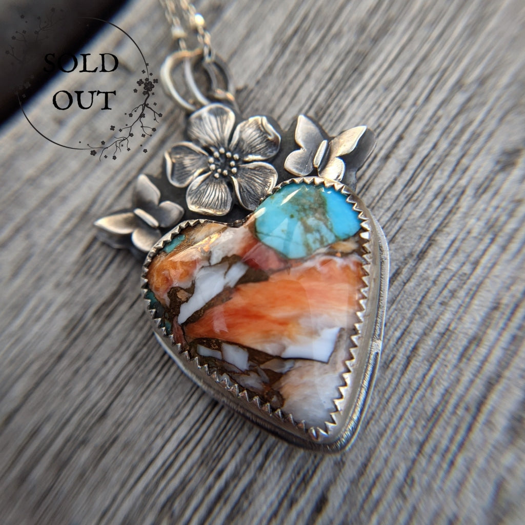 Spiny Oyster Turquoise Heart Necklace