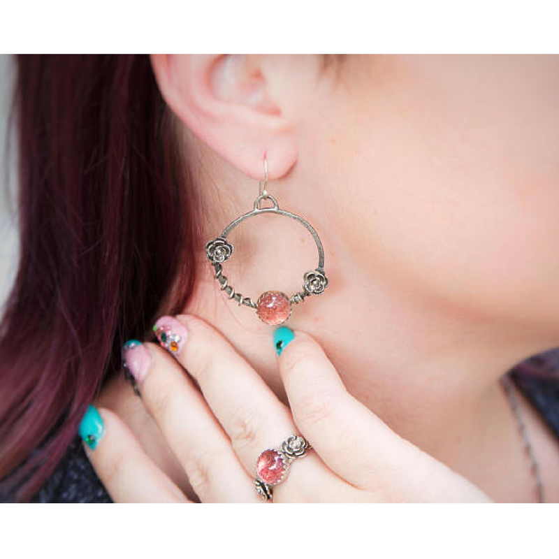 Pink Strawberry Quartz Flower Hoop Earrings photo on a model