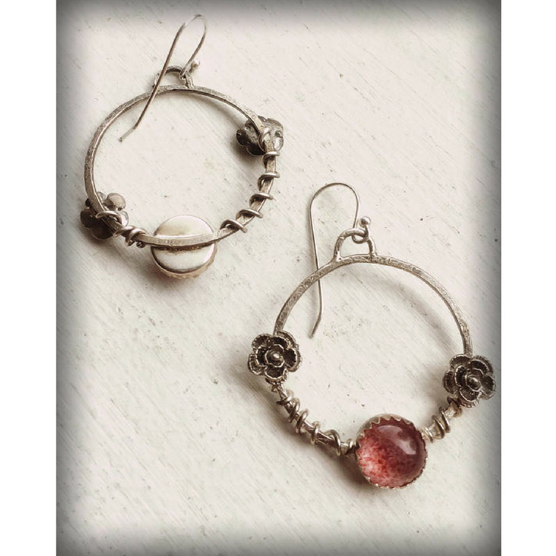 Pink Strawberry Quartz Flower Hoop Earrings photo showing both sides of the earrings