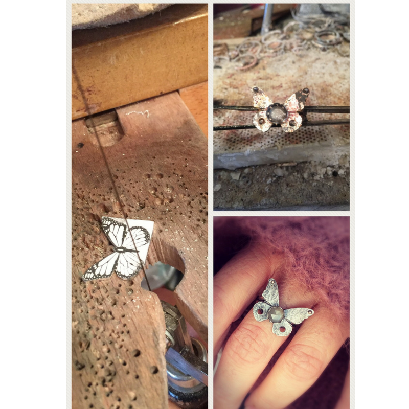 Silver Butterfly Ring with Grey Moonstone in progress making photo