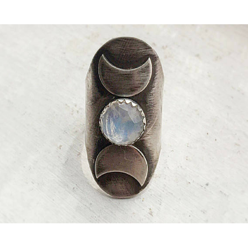 Triple Moon Goddess Ring with a Moonstone Moon phases front view