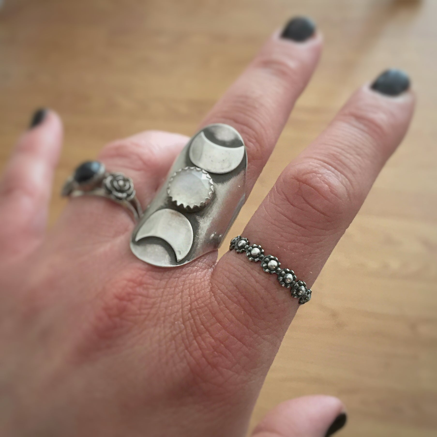 Triple Moon Goddess Ring with Moonstone