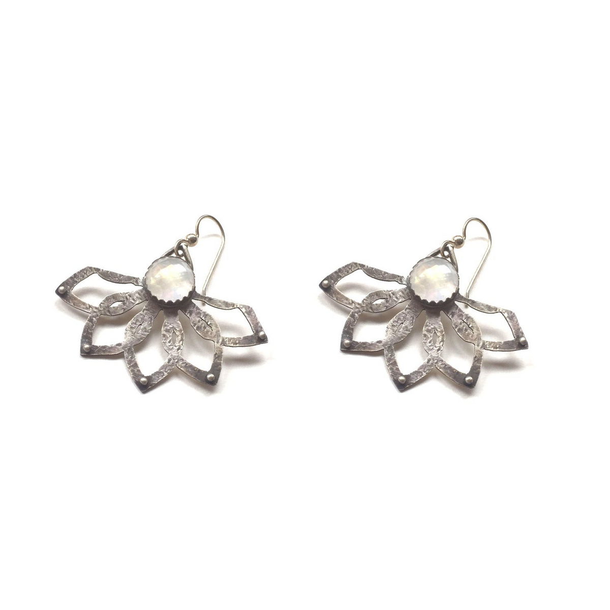 Sterling Silver Tribal Lotus Earrings with Moonstone