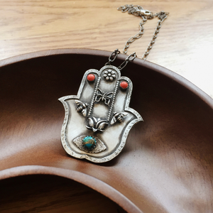 Sterling Silver Hamsa Necklace with Coral and Turquoise