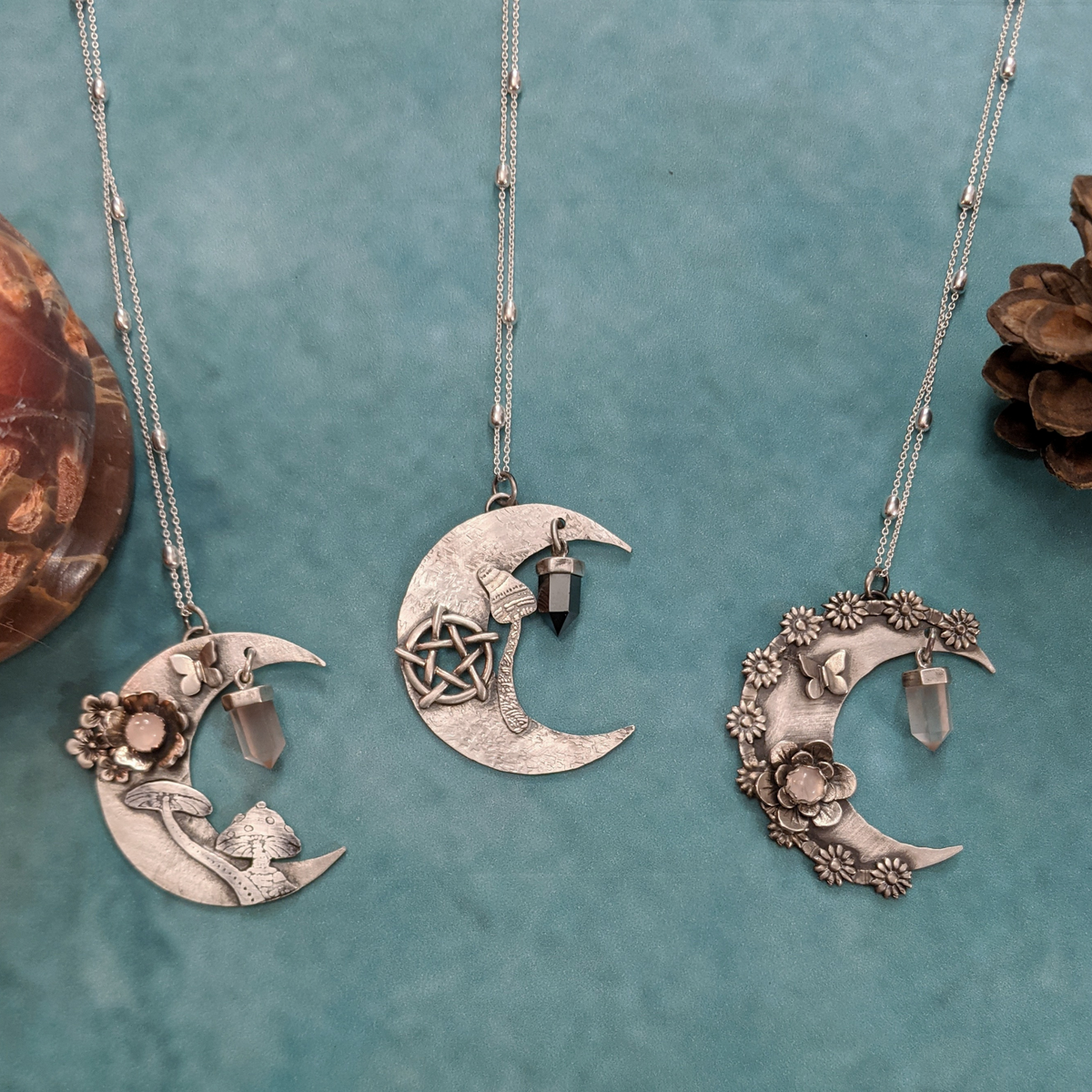 Crescent Moon Necklace with Rose Quartz and Mushrooms