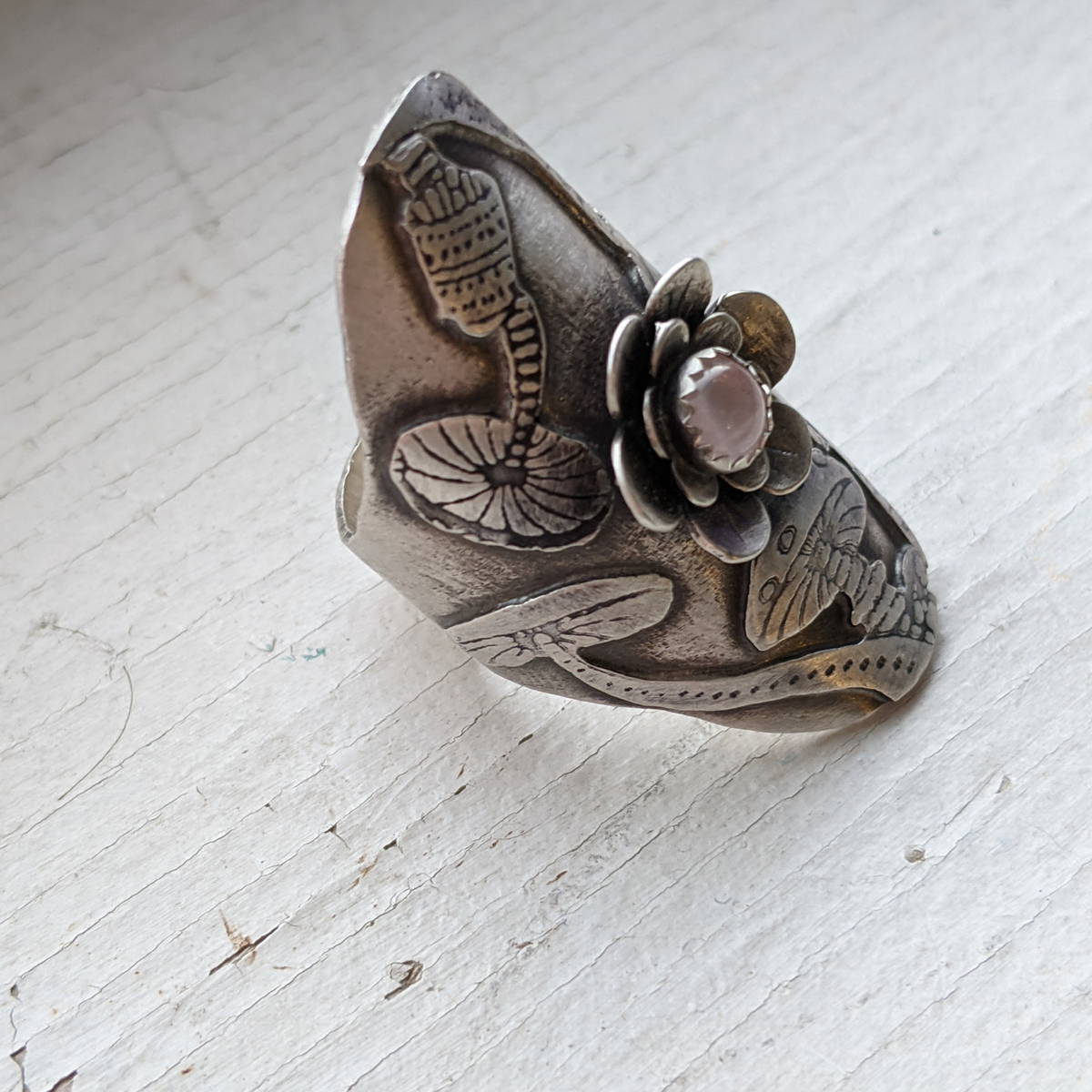 SIZE 7 Trippy Mushroom Ring with Rose Quartz Flower
