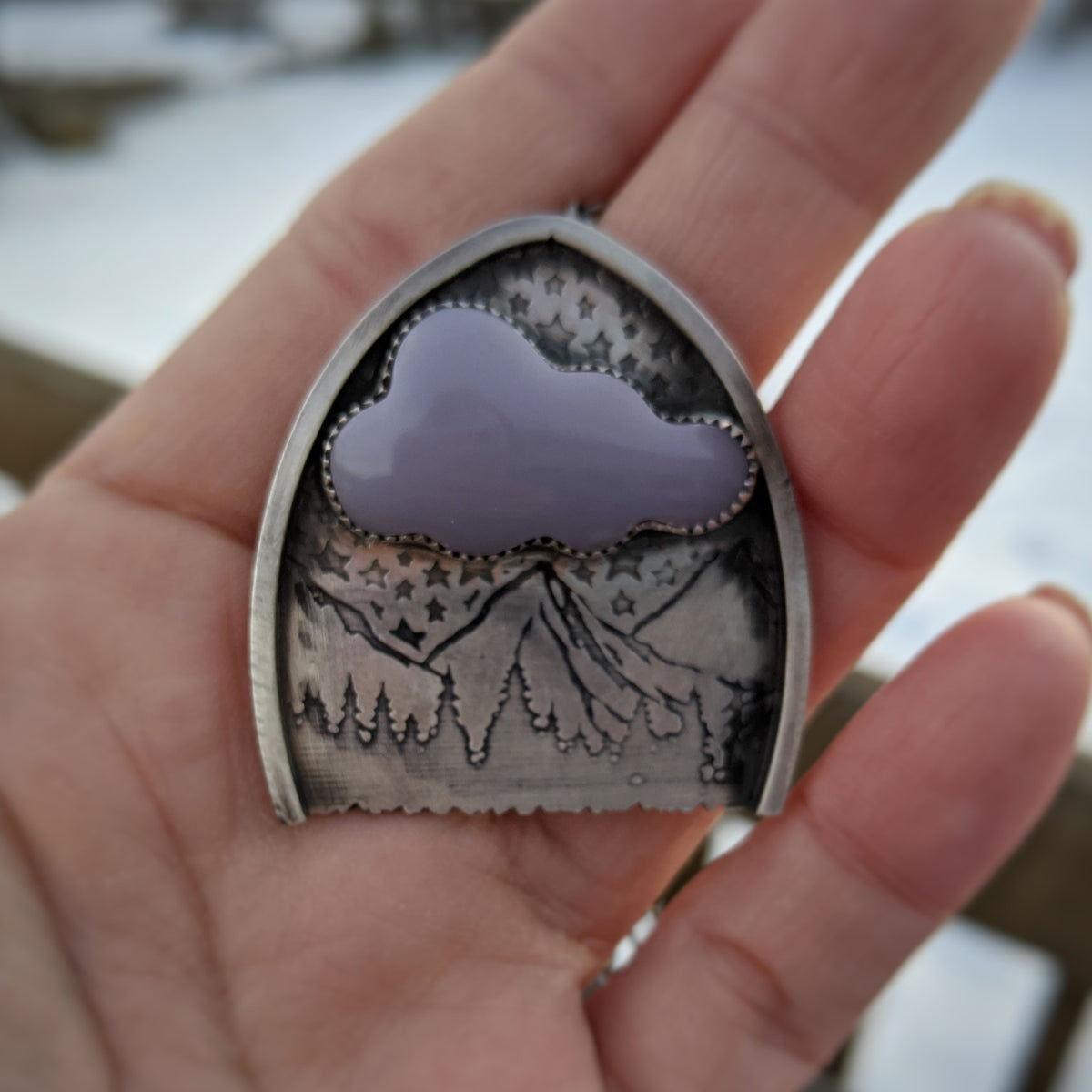 Mountains Necklace with Yttrium Fluorite Cloud