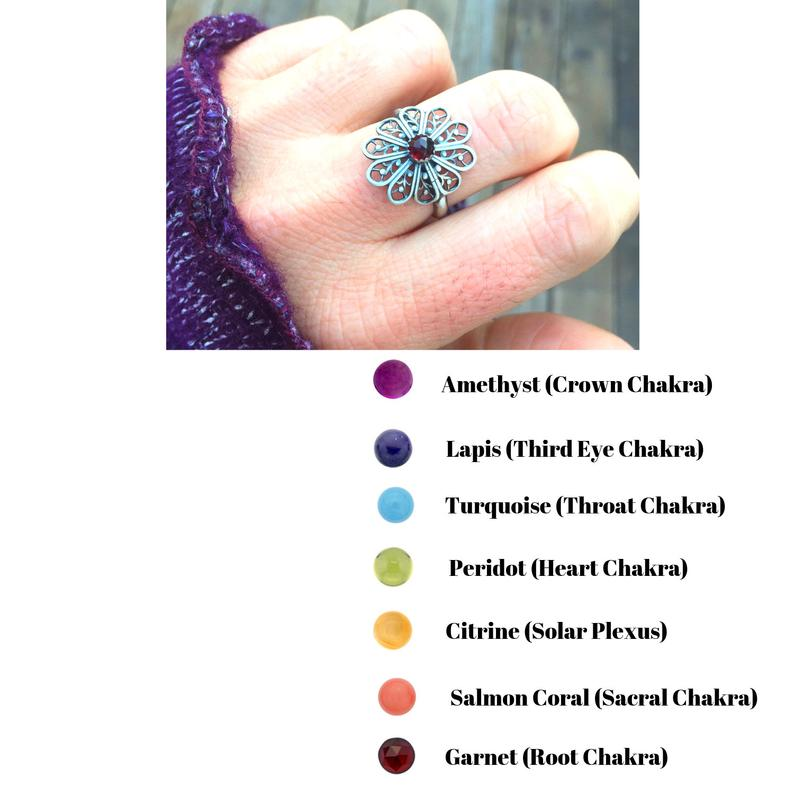 Flower Mandala Ring with Chakra Gemstones