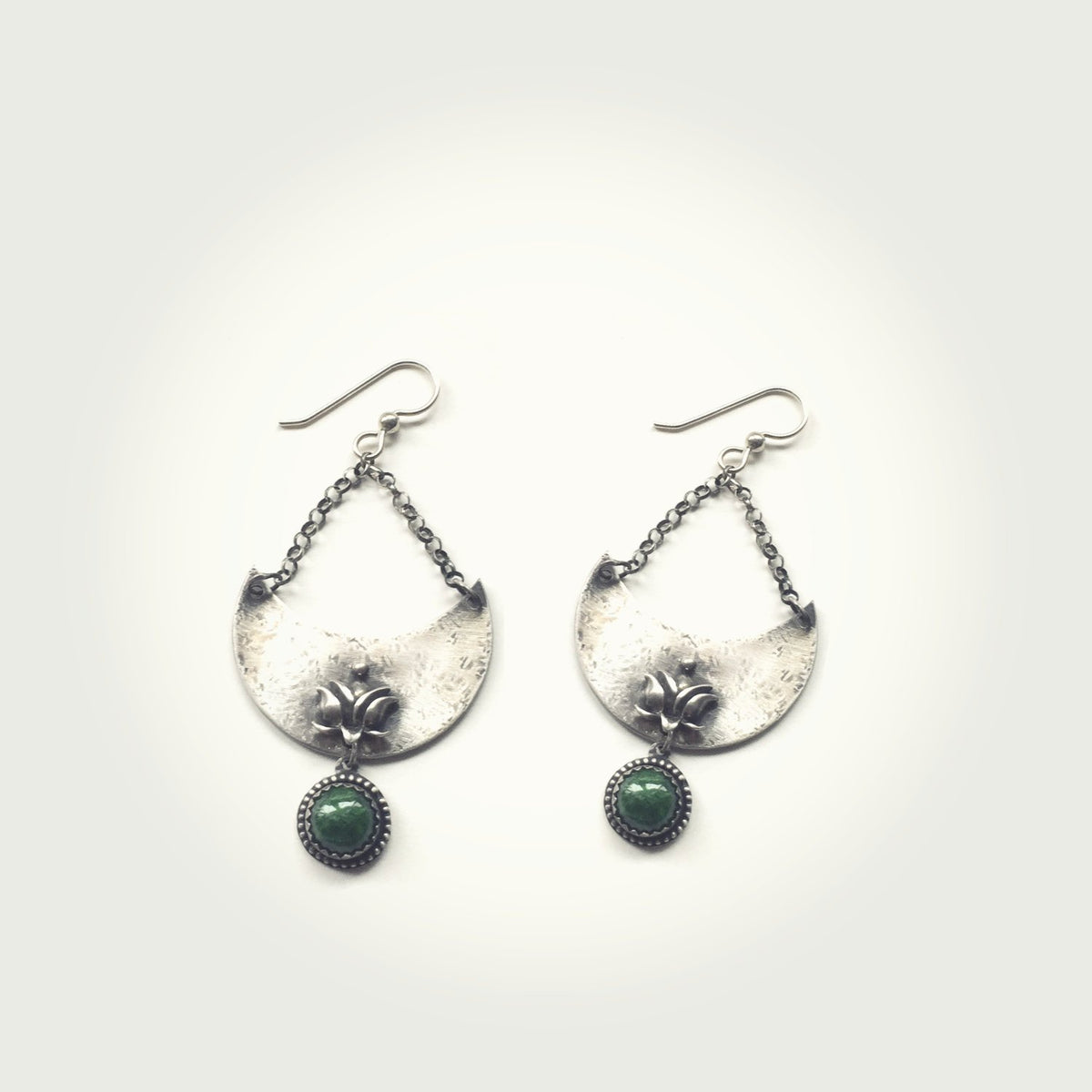 Crescent Moon and Lotus Earrings with Chrome Diopside