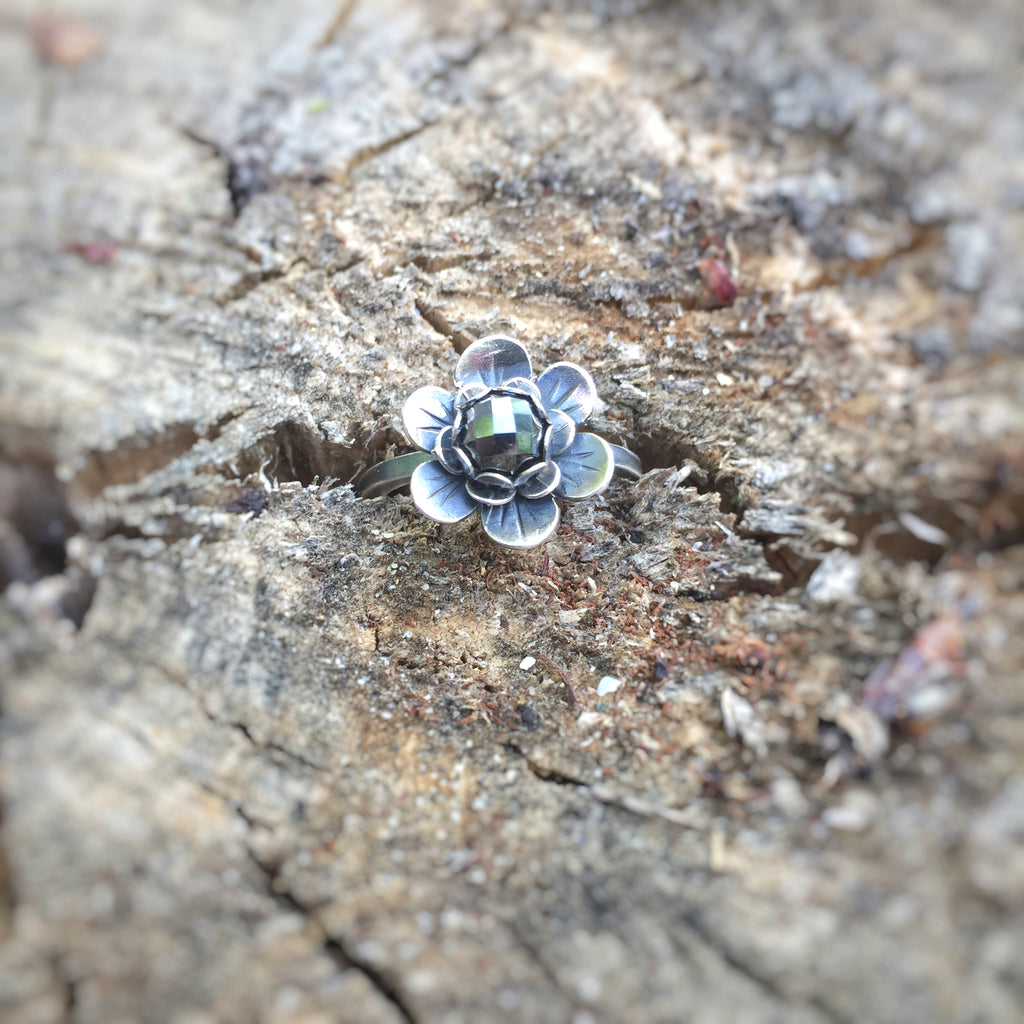 Hematite Flower Ring in Sterling Silver