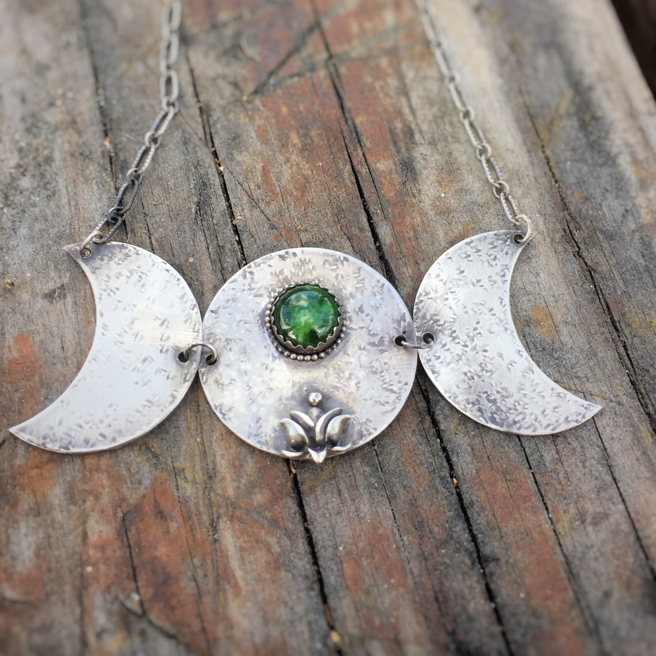 Triple Moon and Lotus Necklace with Chrome Diopside