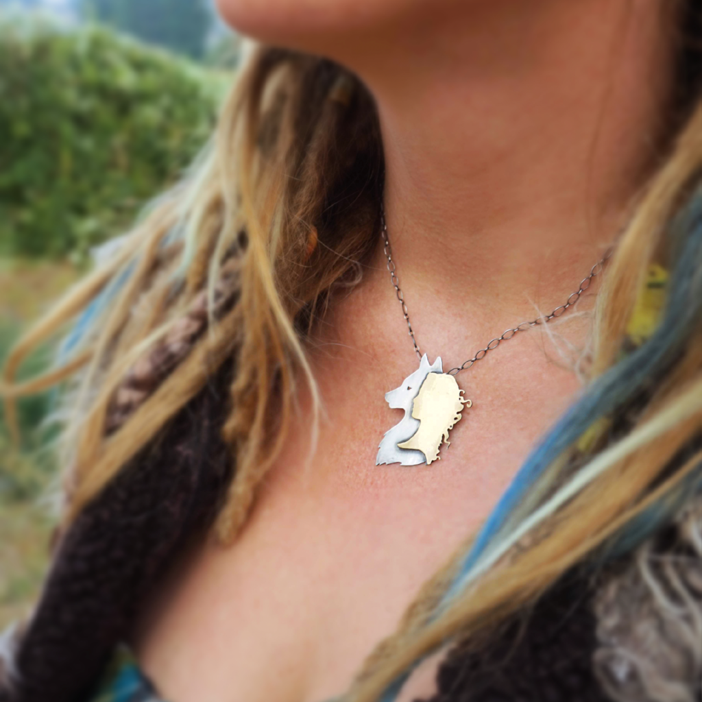 Wolf Woman Necklace in Silver and Brass