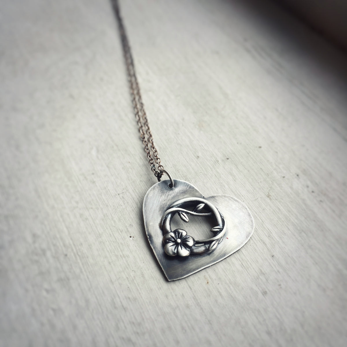 Small Heart Necklace with Vine and Flower