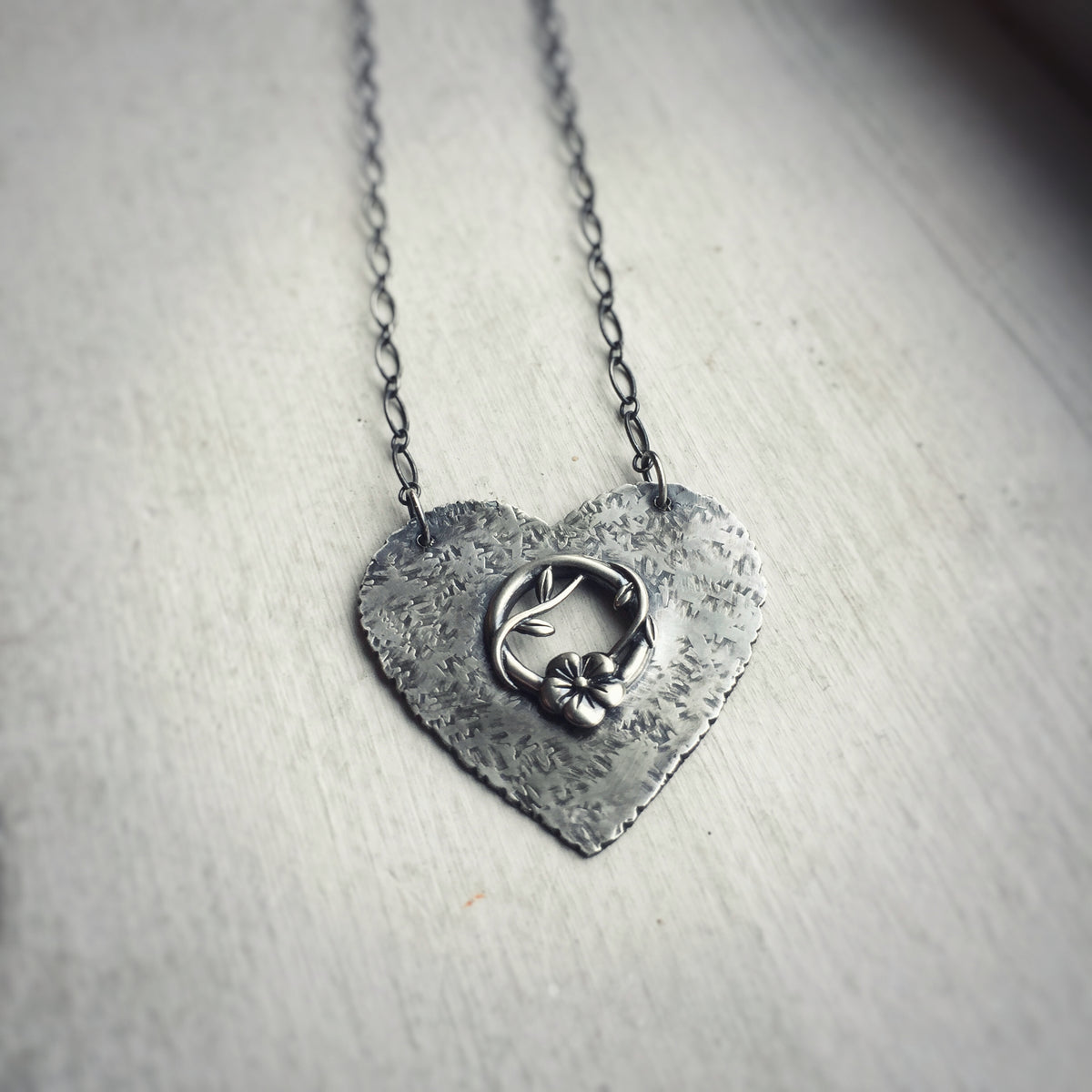 Heart Necklace with Vine and Flower
