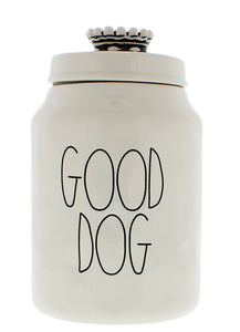 Rae Dunn Magenta Ceramic Canister GOOD DOG Crown Top Pet Canister