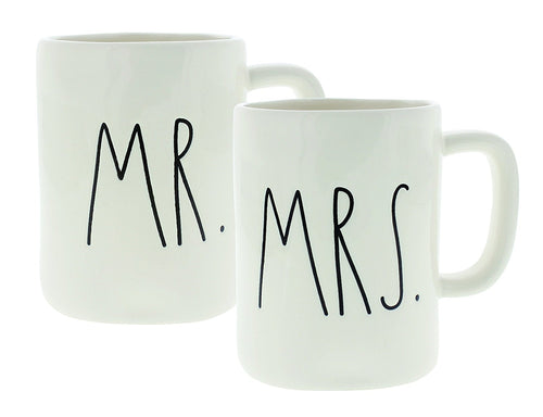 Rae Dunn Magenta MR. and MRS. Mug Set