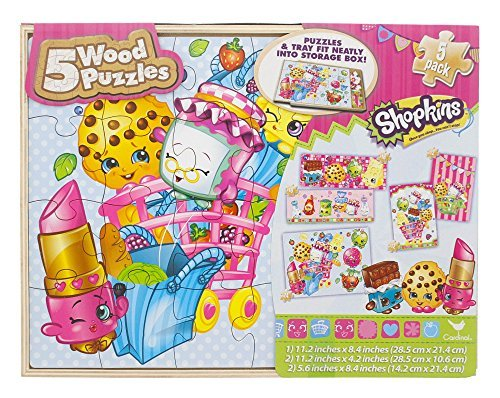 Shopkins 5 Wood Puzzles in Wood Storage Box