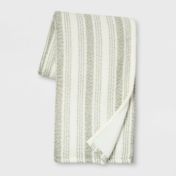 Stripe Boucle Reverse to Sherpa Throw Blanket - Threshold