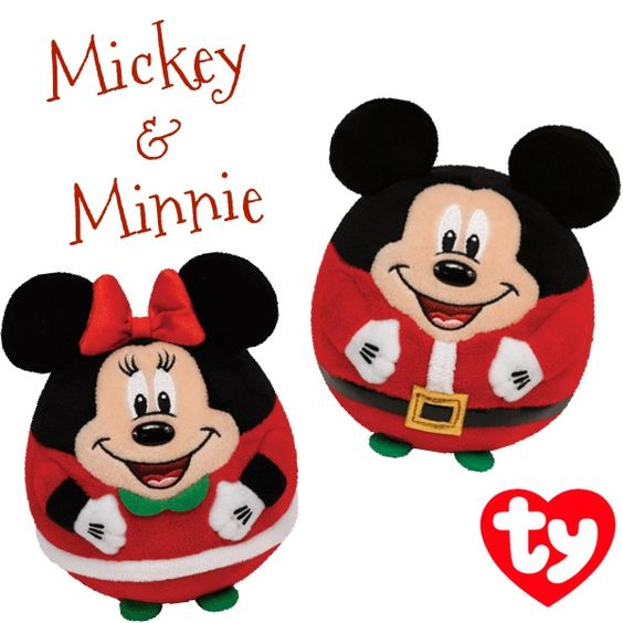 Ty Beanie Ballz Holiday Mickey and Minnie Mouse Plush
