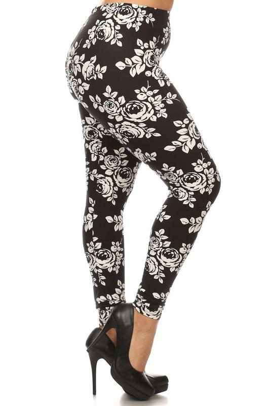 Black & White Floral Buttery Soft Leggings
