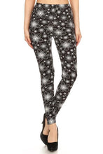 Load image into Gallery viewer, Black & White Star Floral Buttery Soft Leggings