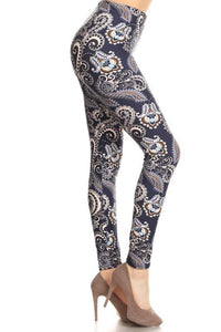 Blue Grey Paisley Buttery Soft Leggings