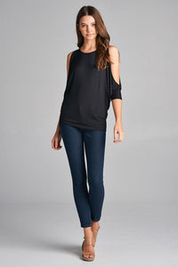 Cold Shoulder Batwing Top