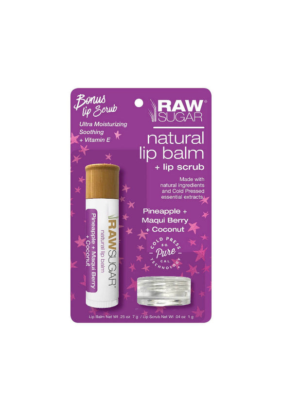 Raw Sugar Natural Lip Balm + Lip Scrub