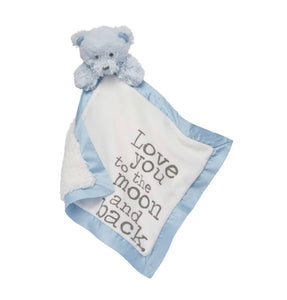 Baby Velour Word Woobie Blue Bear
