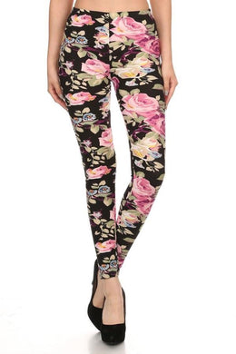 Multi Color Floral on Black Buttery Soft Leggings
