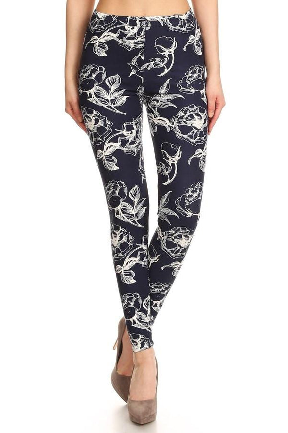 Navy & White Floral Buttery Soft Leggings