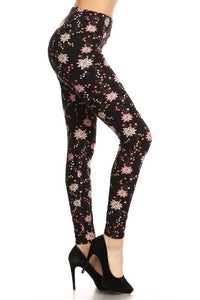 Pink Star Floral Buttery Soft Leggings