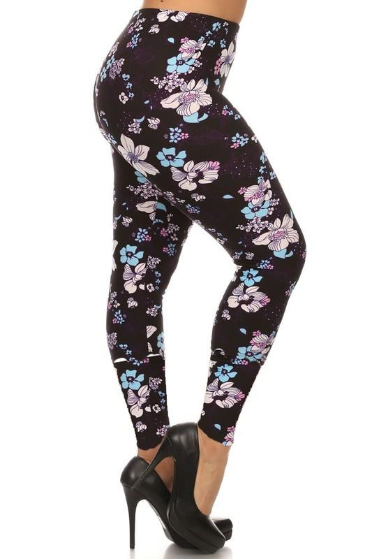 Purple & Blue Floral Buttery Soft Leggings